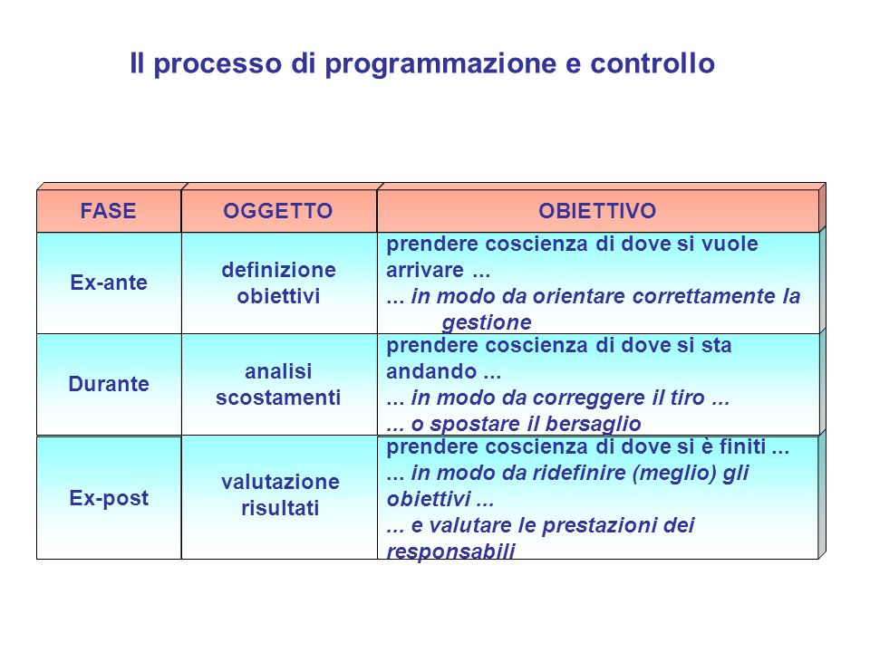 definizione obiettivi valutazione risultati