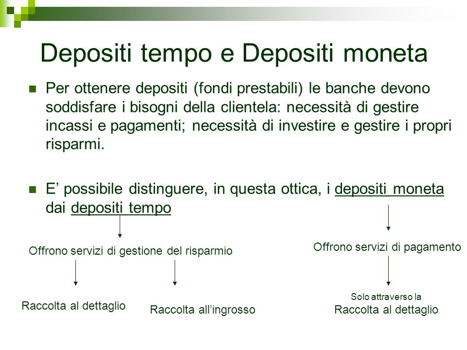 Depositi tempo e Depositi moneta
