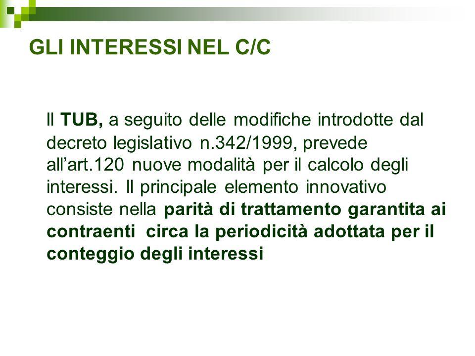 GLI INTERESSI NEL C/C