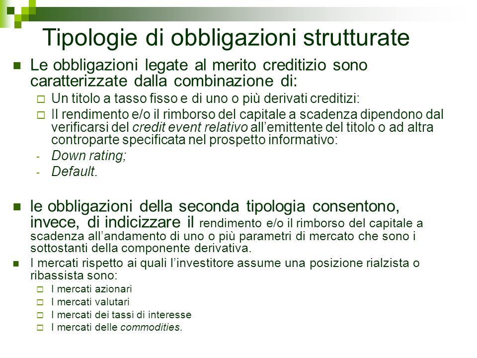 Tipologie di obbligazioni strutturate