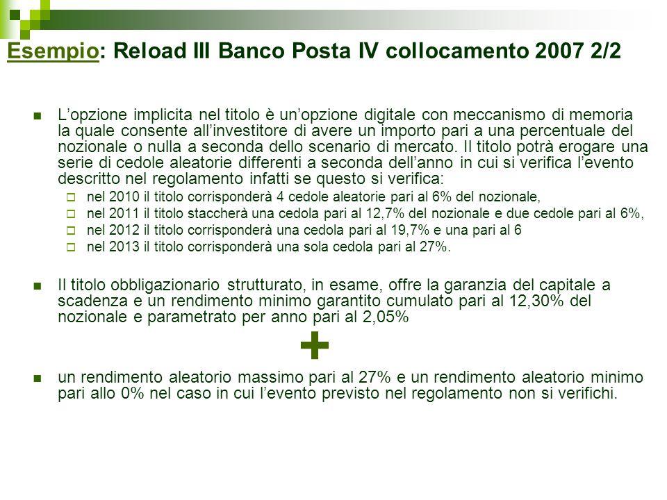 Esempio: Reload III Banco Posta IV collocamento 2007 2/2