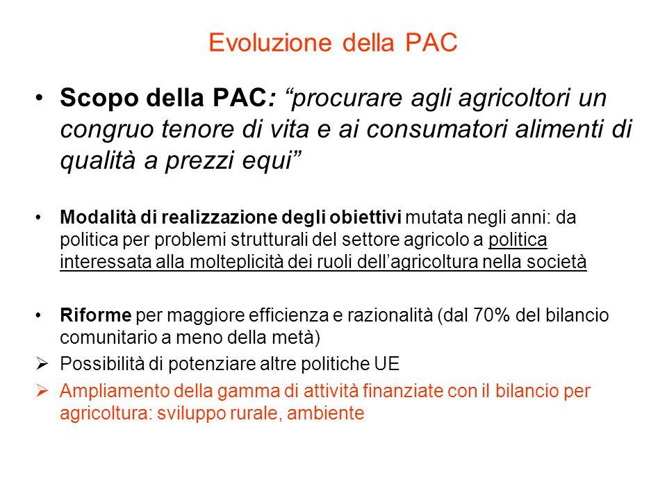 Evoluzione della PAC Scopo della PAC: procurare agli agricoltori un congruo tenore di vita e ai consumatori alimenti di qualità a prezzi equi