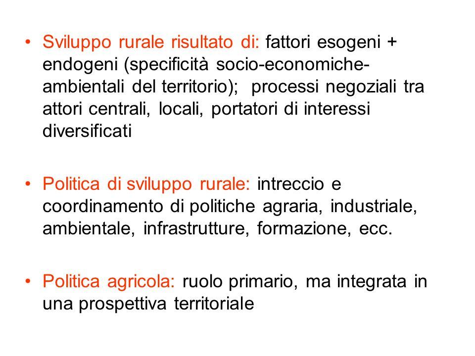 Sviluppo rurale risultato di: fattori esogeni + endogeni (specificità socio-economiche-ambientali del territorio); processi negoziali tra attori centrali, locali, portatori di interessi diversificati