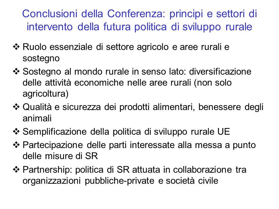 Conclusioni della Conferenza: principi e settori di intervento della futura politica di sviluppo rurale