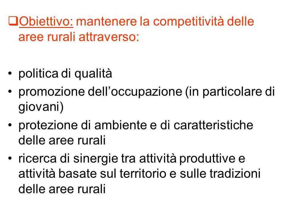 Obiettivo: mantenere la competitività delle aree rurali attraverso: