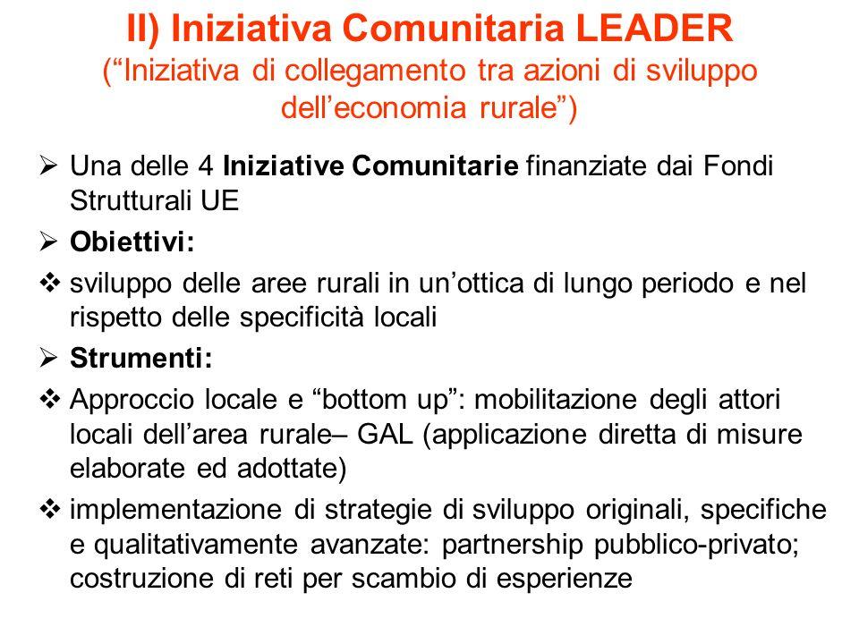 II) Iniziativa Comunitaria LEADER ( Iniziativa di collegamento tra azioni di sviluppo dell'economia rurale )