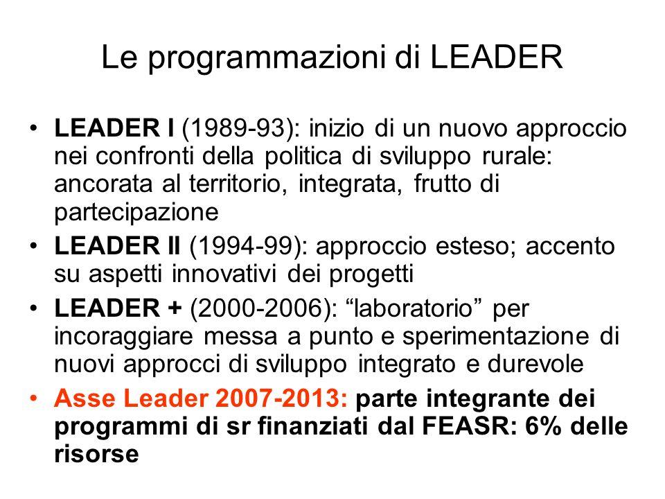 Le programmazioni di LEADER