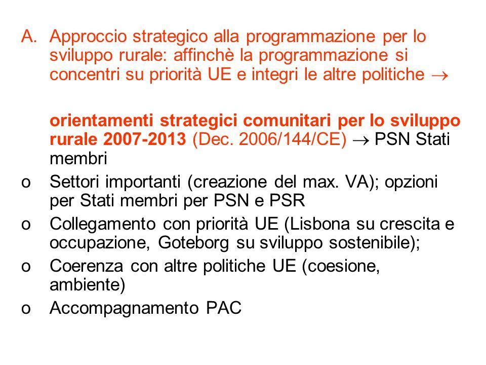 Approccio strategico alla programmazione per lo sviluppo rurale: affinchè la programmazione si concentri su priorità UE e integri le altre politiche 