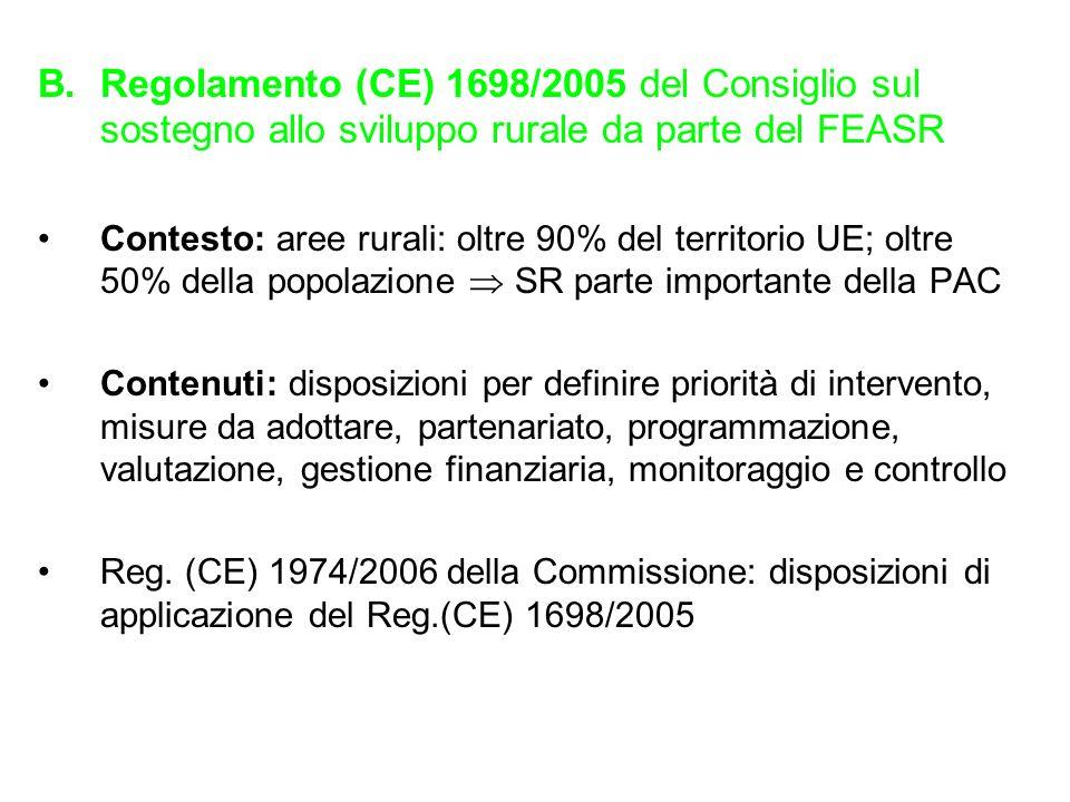 Regolamento (CE) 1698/2005 del Consiglio sul sostegno allo sviluppo rurale da parte del FEASR