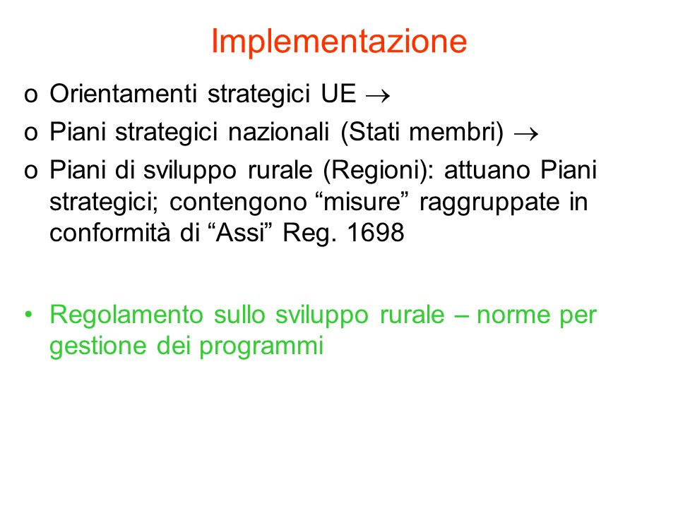 Implementazione Orientamenti strategici UE 