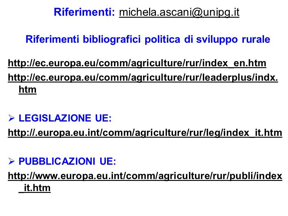 Riferimenti: michela. ascani@unipg