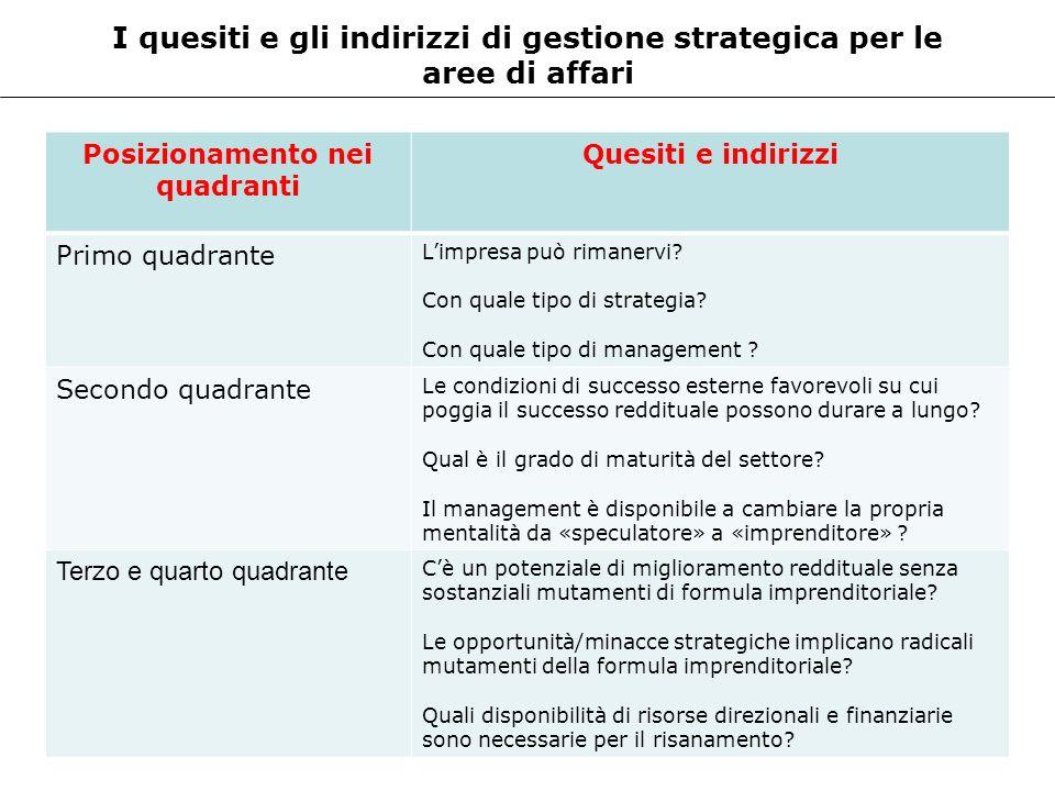 I quesiti e gli indirizzi di gestione strategica per le aree di affari