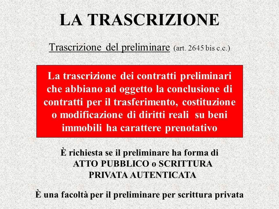 Trascrizione del preliminare (art. 2645 bis c.c.)