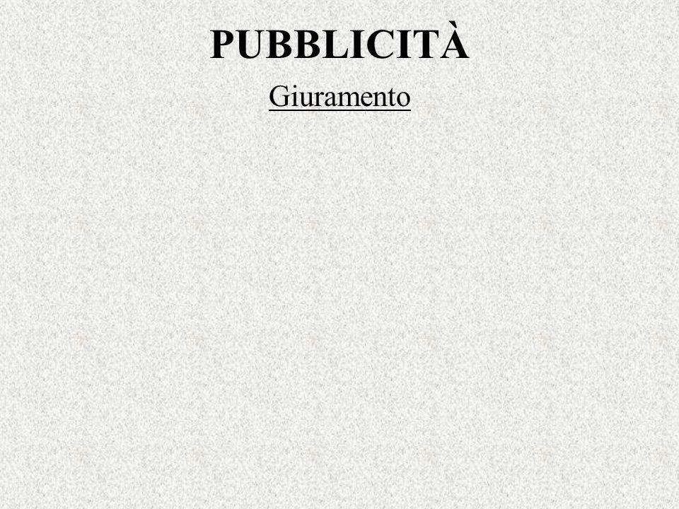 PUBBLICITÀ Giuramento