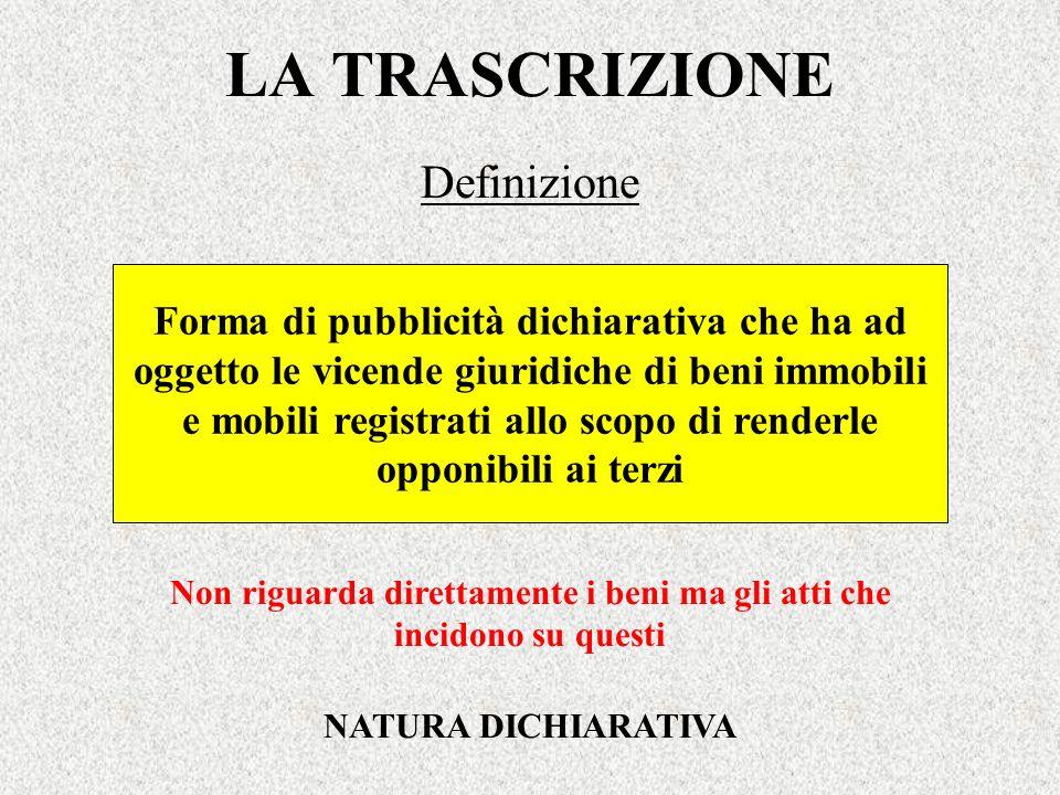 LA TRASCRIZIONE Definizione Forma di pubblicità dichiarativa che ha ad