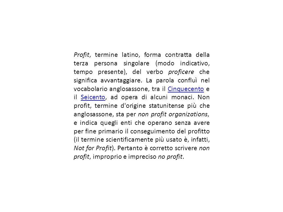 Profit, termine latino, forma contratta della terza persona singolare (modo indicativo, tempo presente), del verbo proficere che significa avvantaggiare.