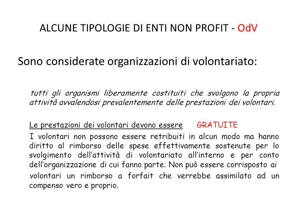 ALCUNE TIPOLOGIE DI ENTI NON PROFIT - OdV