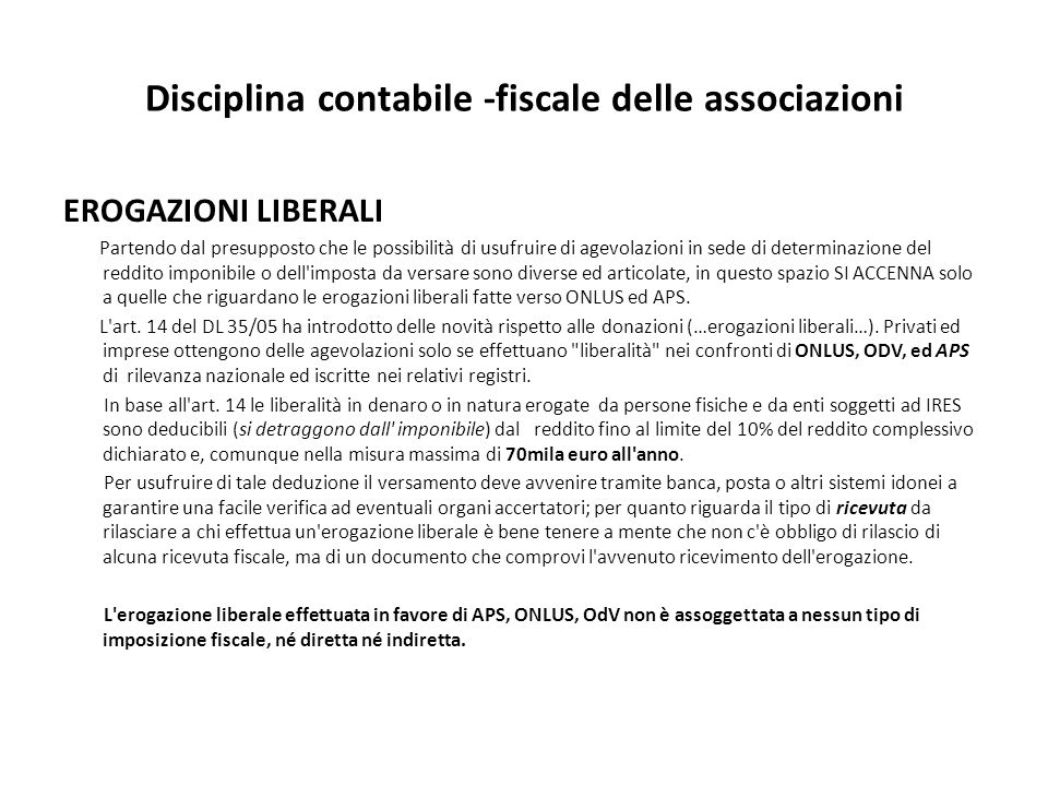 Disciplina contabile -fiscale delle associazioni