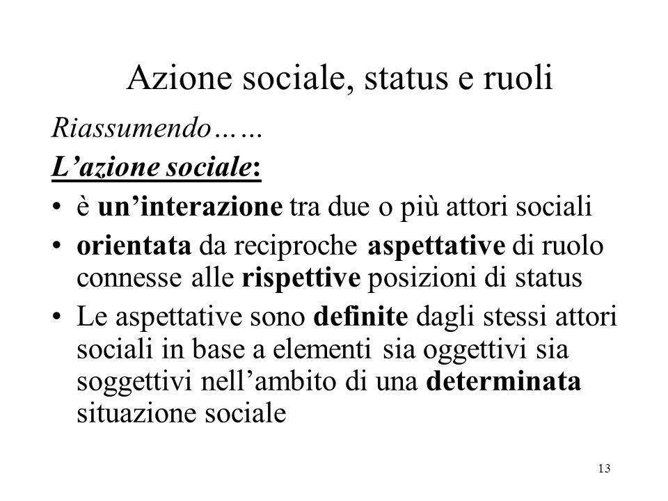 Azione sociale, status e ruoli