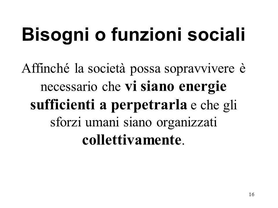 Bisogni o funzioni sociali