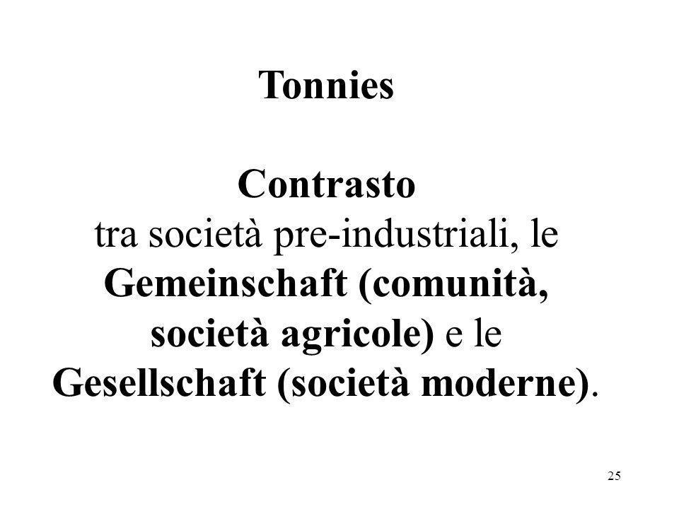 Tonnies Contrasto tra società pre-industriali, le Gemeinschaft (comunità, società agricole) e le Gesellschaft (società moderne).