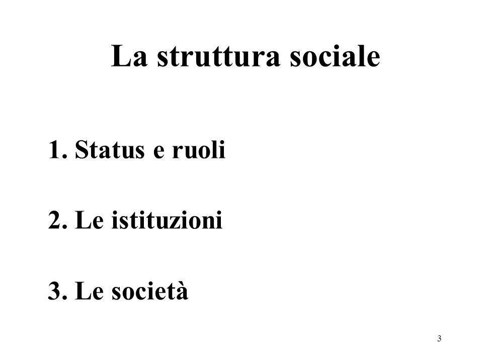 La struttura sociale 1. Status e ruoli 2. Le istituzioni 3. Le società