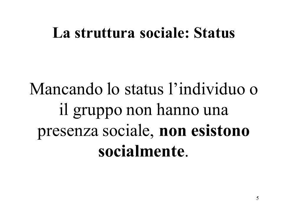La struttura sociale: Status