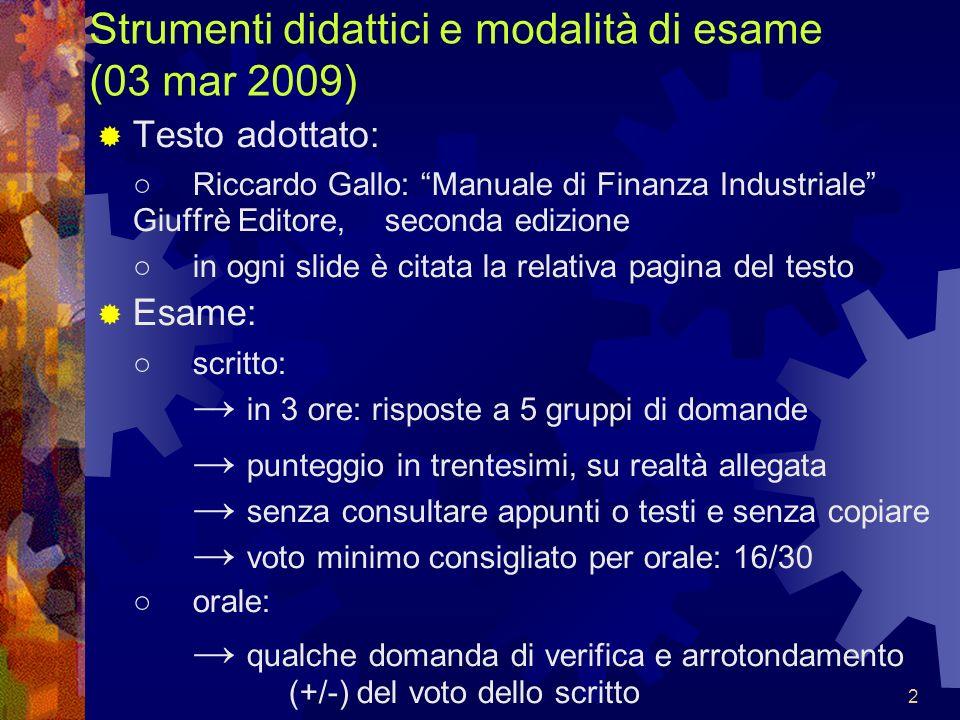 Strumenti didattici e modalità di esame (03 mar 2009)