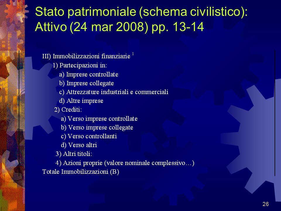 Stato patrimoniale (schema civilistico): Attivo (24 mar 2008) pp. 13-14