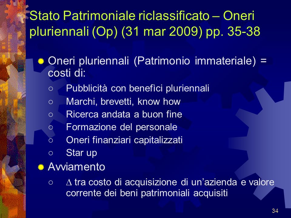 Stato Patrimoniale riclassificato – Oneri pluriennali (Op) (31 mar 2009) pp. 35-38