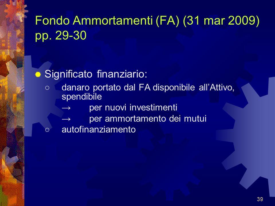 Fondo Ammortamenti (FA) (31 mar 2009) pp. 29-30