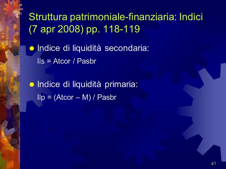 Struttura patrimoniale-finanziaria: Indici (7 apr 2008) pp. 118-119