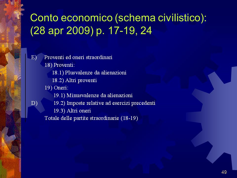 Conto economico (schema civilistico): (28 apr 2009) p. 17-19, 24
