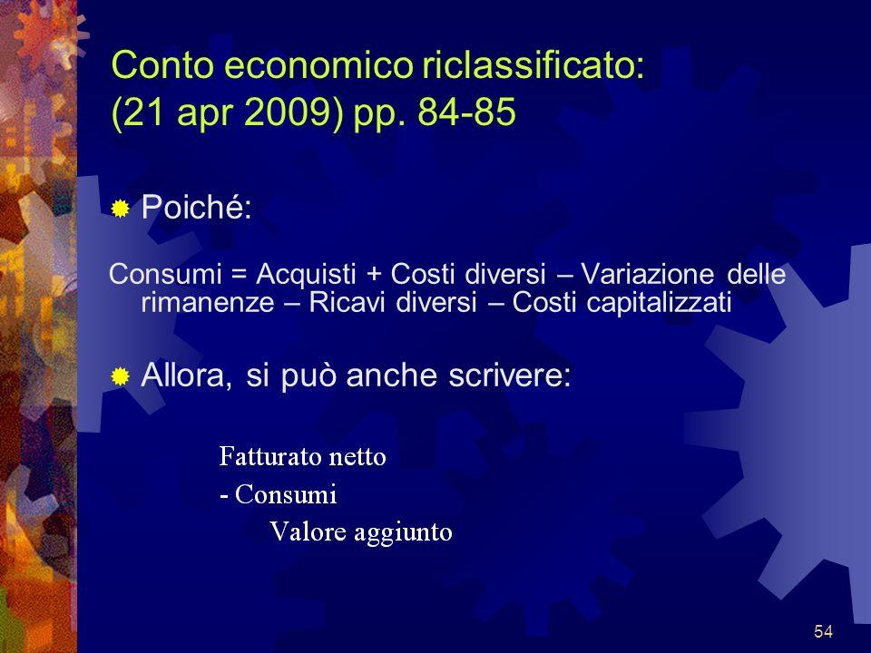 Conto economico riclassificato: (21 apr 2009) pp. 84-85