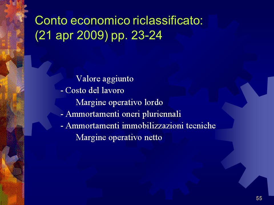 Conto economico riclassificato: (21 apr 2009) pp. 23-24