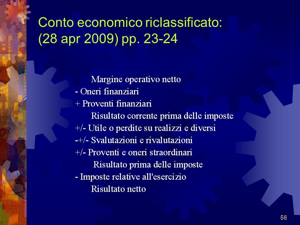 Conto economico riclassificato: (28 apr 2009) pp. 23-24