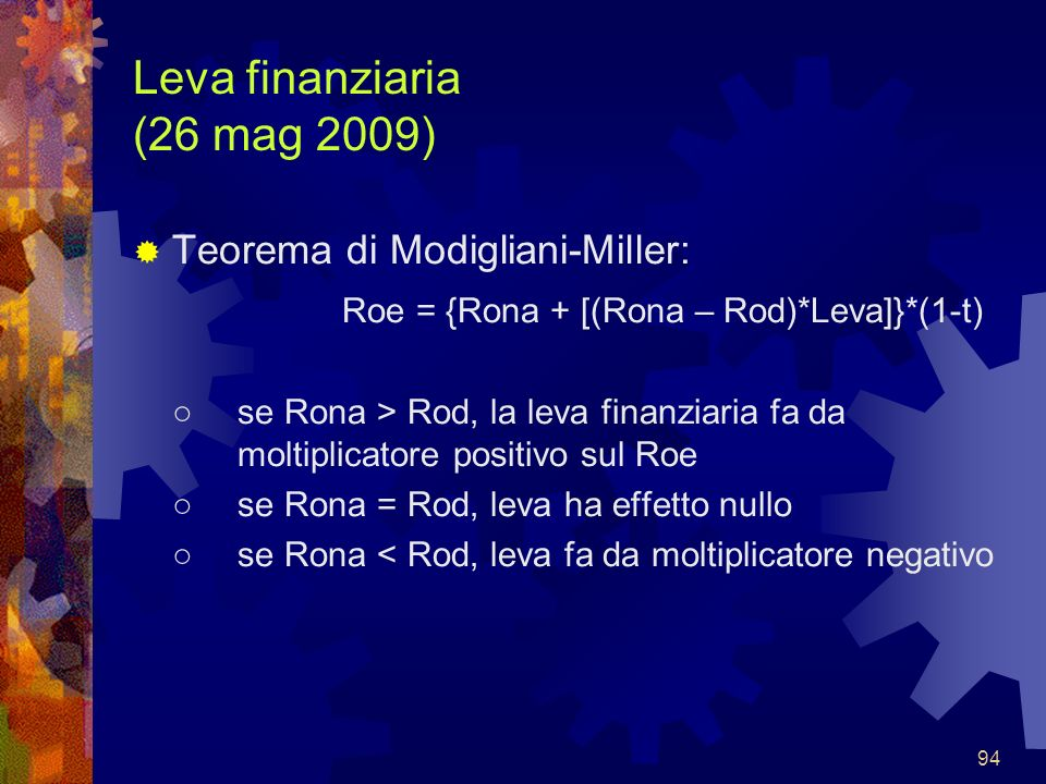 Leva finanziaria (26 mag 2009)