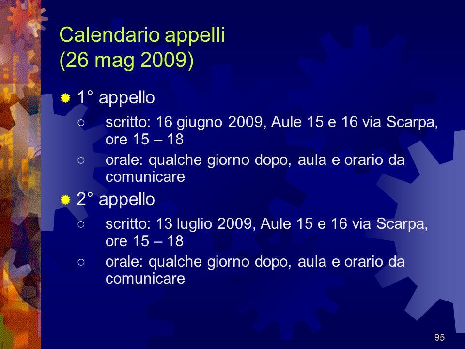 Calendario appelli (26 mag 2009)