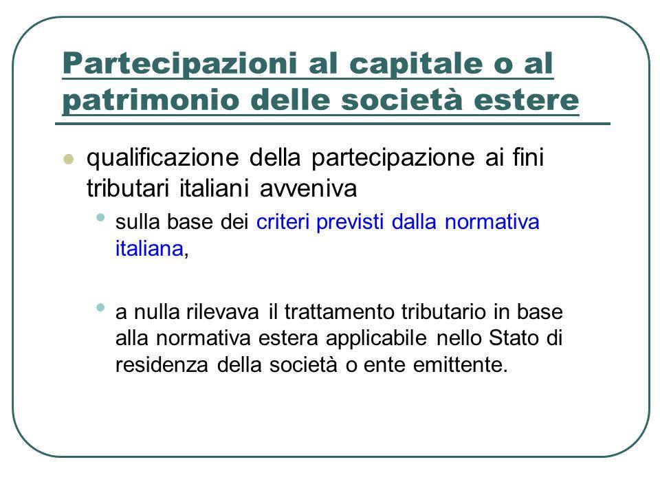 Partecipazioni al capitale o al patrimonio delle società estere