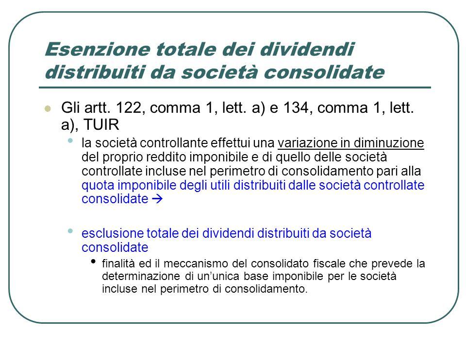 Esenzione totale dei dividendi distribuiti da società consolidate