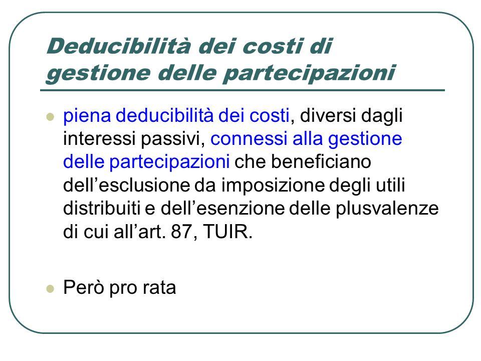 Deducibilità dei costi di gestione delle partecipazioni