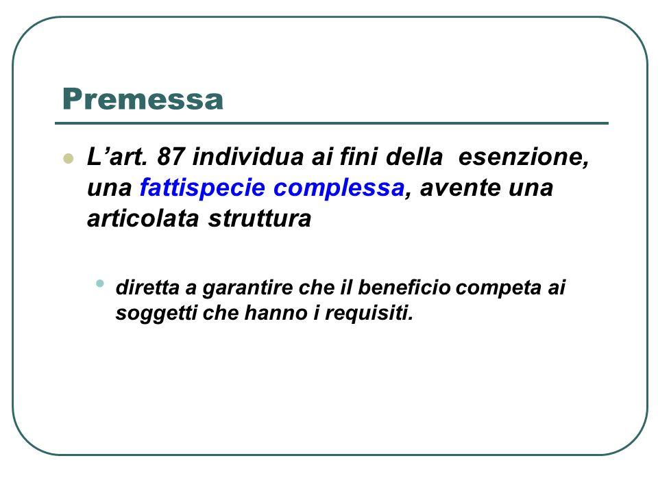 Premessa L'art. 87 individua ai fini della esenzione, una fattispecie complessa, avente una articolata struttura.