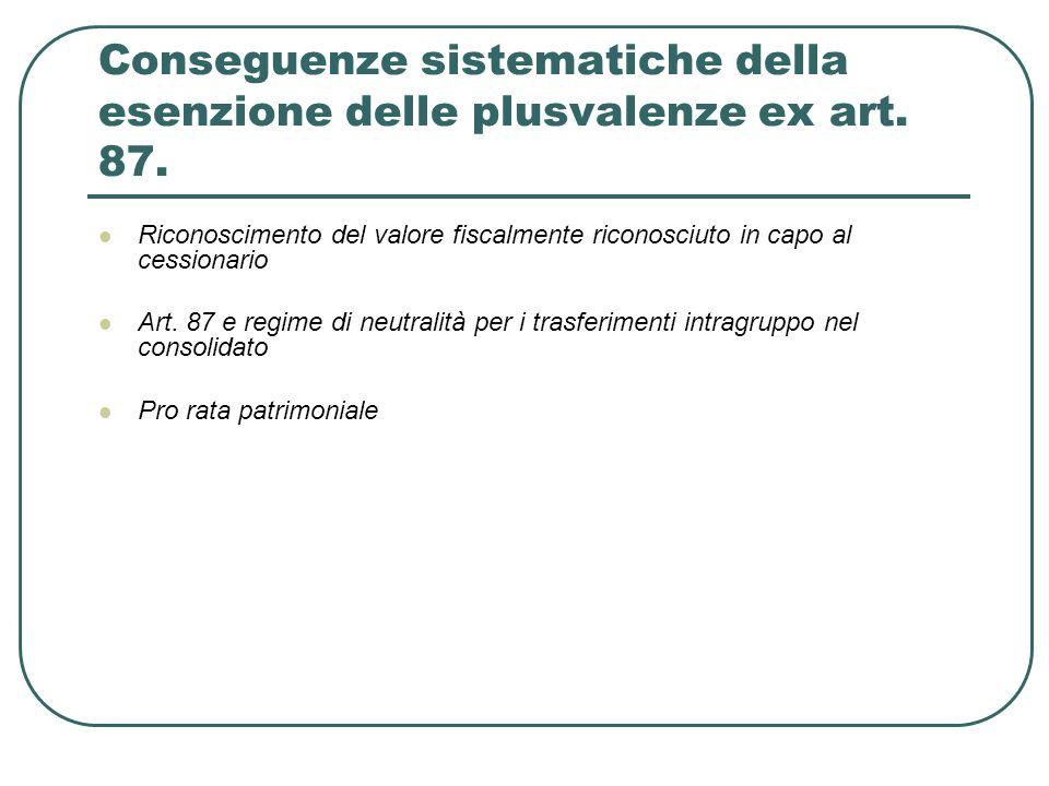 Conseguenze sistematiche della esenzione delle plusvalenze ex art. 87.