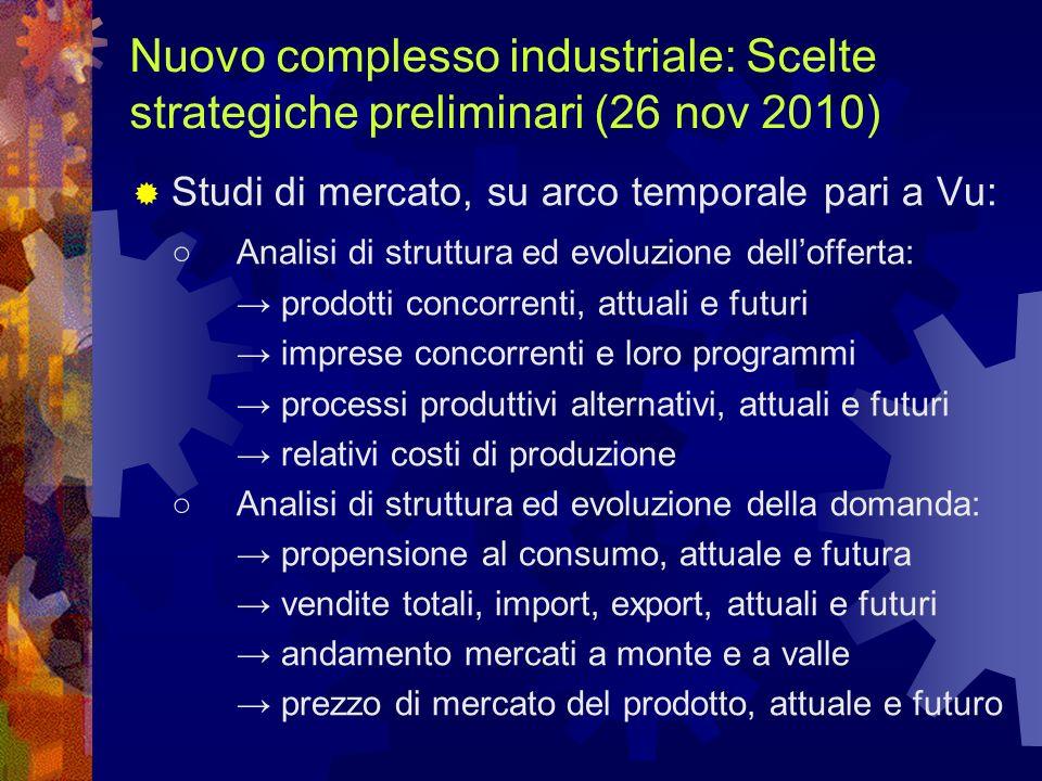 Nuovo complesso industriale: Scelte strategiche preliminari (26 nov 2010)