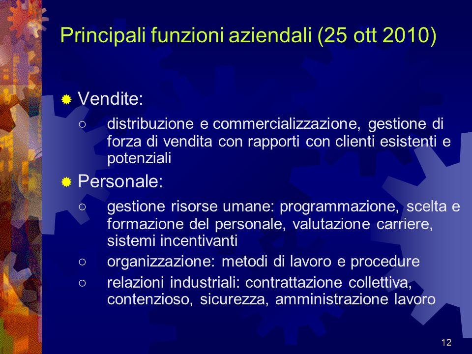 Principali funzioni aziendali (25 ott 2010)