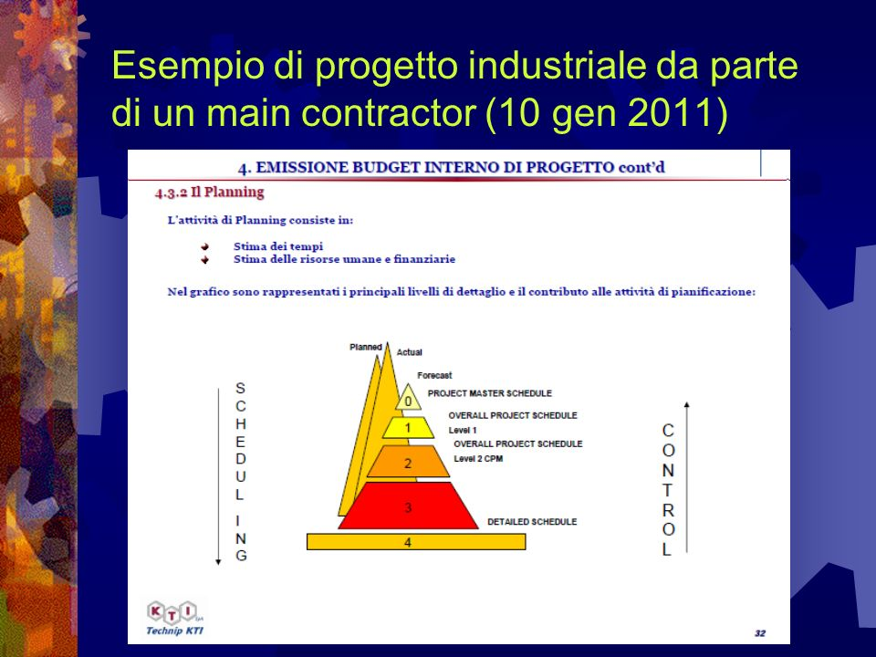 Esempio di progetto industriale da parte di un main contractor (10 gen 2011)
