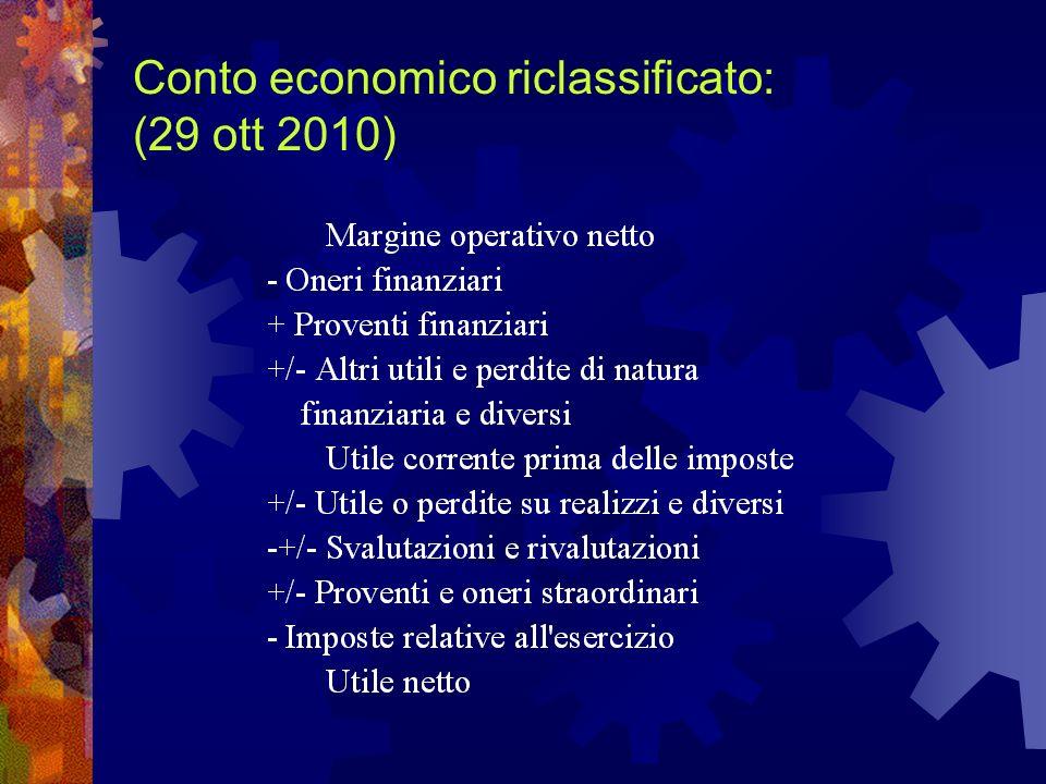 Conto economico riclassificato: (29 ott 2010)