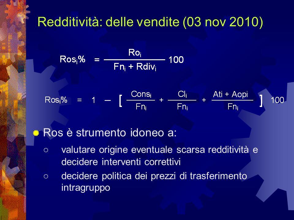 Redditività: delle vendite (03 nov 2010)