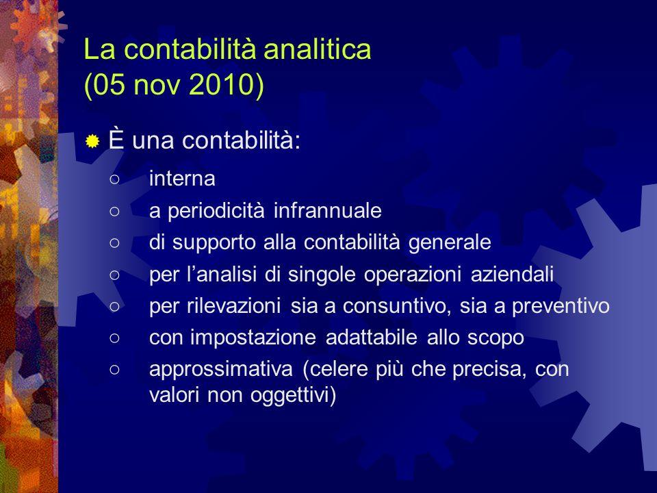 La contabilità analitica (05 nov 2010)