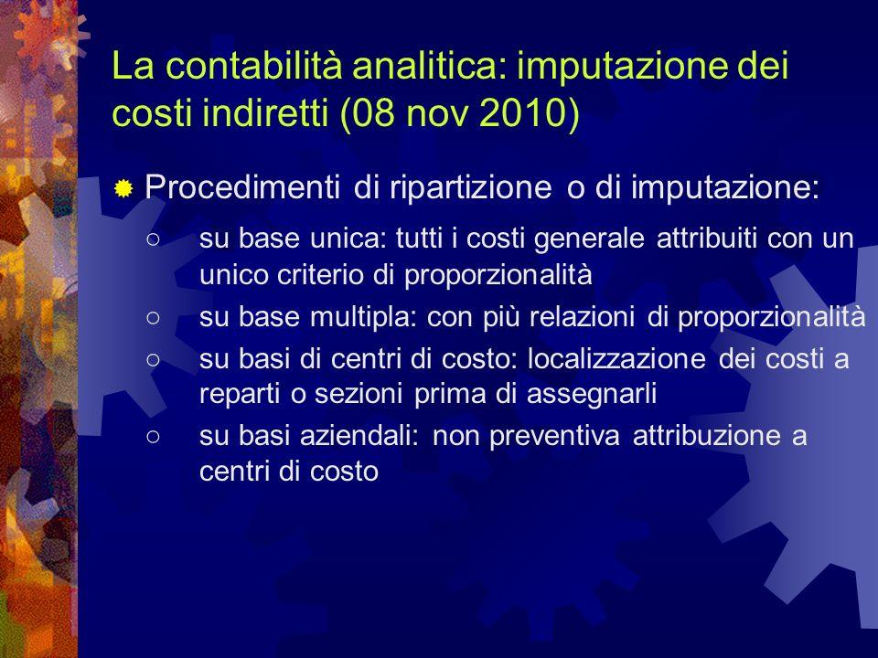 La contabilità analitica: imputazione dei costi indiretti (08 nov 2010)